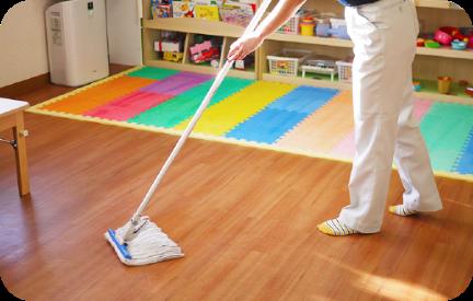 床を傷めることなく除菌!